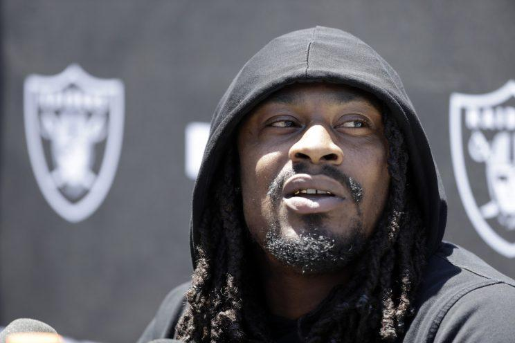 Marshawn Lynch appeared in a charity soccer game and hilarity ensued. (AP)