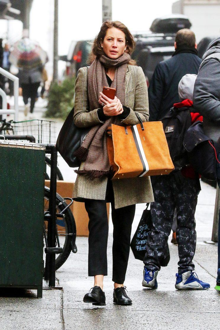 Christy Turlington was spotted on the streets of New York City in a menswear-inspired look. (Photo: AKM-GSI)