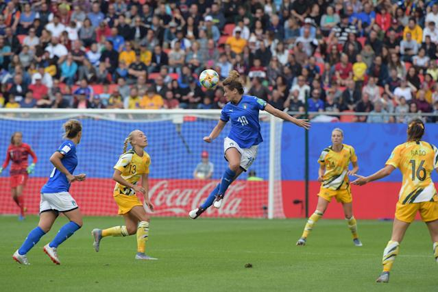 (C) Cristiana Girelli of Italy Women hits the ball with the head during the 2019 FIFA Women's World Cup France group C match between Australia and Italy at Stade du Hainaut on June 9, 2019 in Valenciennes, France. (Photo by Pier Marco Tacca/Getty Images)