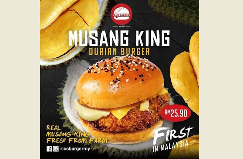 The patty is fully made of Musang King durian stuffed with butter and mozzarella cheese.