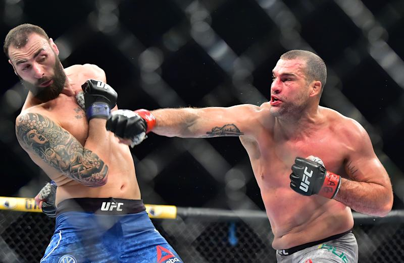 Nov 16, 2019; Sao Paolo, BRAZIL; Maurico Rua (red gloves) fights Paul Craig (blue gloves) during UFC Fight Night at Ginsasio do Ibirapuera. Mandatory Credit: Jason Da Silva-USA TODAY Sportsh