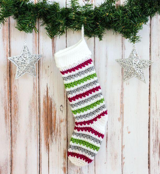 """<p>Anything with stripes is an instant classic, and this crochet stocking is no exception. You could use any colors you choose, but we love the festiveness of this particular stocking with its red, green, white, and gray stripes.<br></p><p><strong>Get the tutorial at <a href=""""https://dabblesandbabbles.com/crochet-christmas-stocking-pattern/"""" rel=""""nofollow noopener"""" target=""""_blank"""" data-ylk=""""slk:Dabbles & Babbles"""" class=""""link rapid-noclick-resp"""">Dabbles & Babbles</a>.</strong></p><p><a class=""""link rapid-noclick-resp"""" href=""""https://www.amazon.com/Singer-Detail-Scissor-Nano-Teal/dp/B001IKCGLM/ref=sr_1_4?tag=syn-yahoo-20&ascsubtag=%5Bartid%7C10050.g.28872655%5Bsrc%7Cyahoo-us"""" rel=""""nofollow noopener"""" target=""""_blank"""" data-ylk=""""slk:SHOP SCISSORS"""">SHOP SCISSORS</a></p>"""