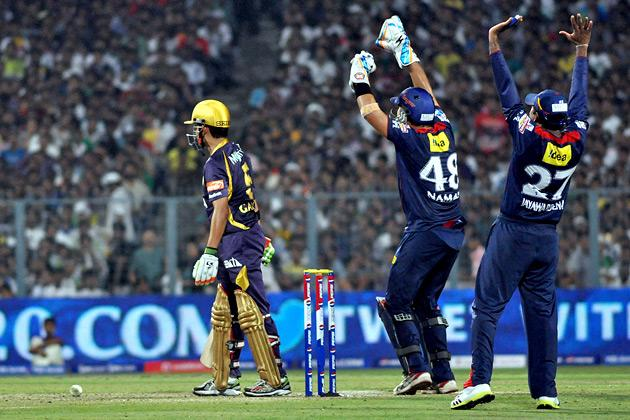 Kolkata Knight Riders captain Gautam Gambhir walks back after getting out during IPL T-20 match between KKR and DD at Eden Gardens in Kolkata on April 3, 2013. (Photo: IANS)