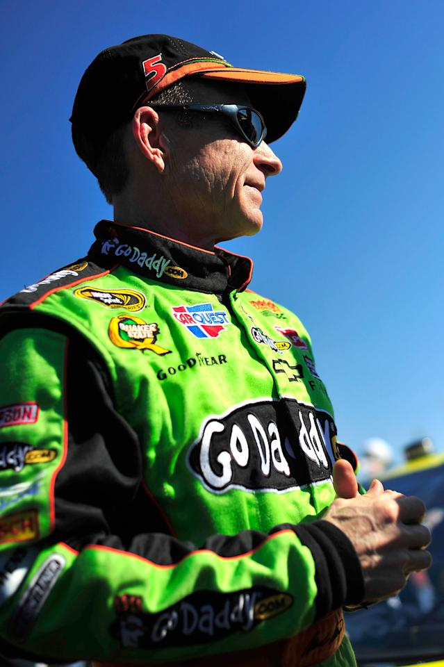 TALLADEGA, AL - OCTOBER 22:  Mark Martin, driver of the #5 GoDaddy.com Chevrolet, looks on during qualifying for the NASCAR Sprint Cup Series Good Sam Club 500 at Talladega Superspeedway on October 22, 2011 in Talladega, Alabama.  (Photo by Jason Smith/Getty Images)