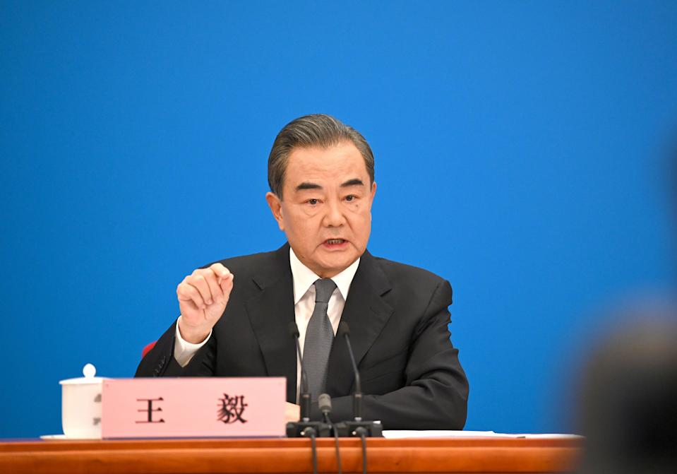 BEIJING, May 24, 2020 -- Chinese State Councilor and Foreign Minister Wang Yi attends a press conference on China's foreign policy and foreign relations via video link on the sidelines of the third session of the 13th National People's Congress at the Great Hall of the People in Beijing, capital of China, May 24, 2020. (Photo by Chen Yehua/Xinhua via Getty) (Xinhua/Chen Yehua via Getty Images)