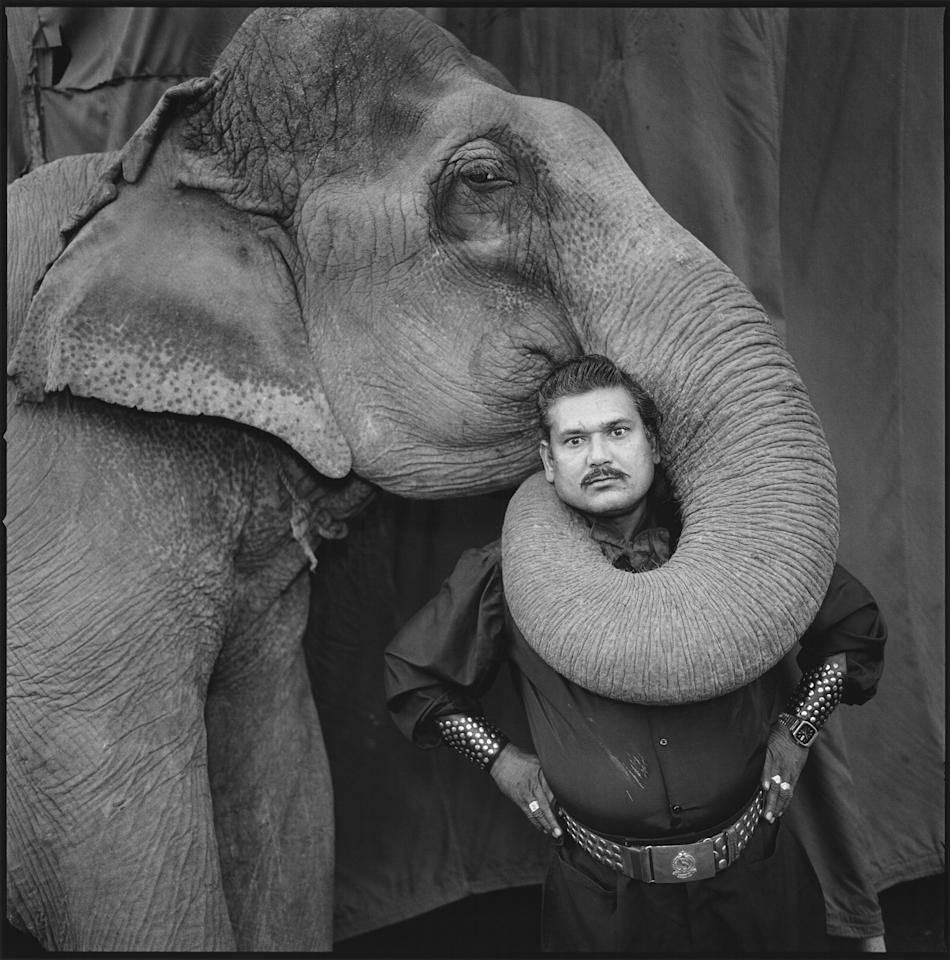 "<p>Ram Prakash Singh with his elephant Shyama, Great Golden Circus, Ahmedabad, India, 1990. ""I'm always looking for something that's a little on the strange side, some kind of tension or a feeling that is slightly off-putting. This picture of the elephant and his trainer is one of my most well-known pictures from the Indian circus. He had the elephant perform that for me (I think he was showing off). But what makes the portrait work so well is the elephant's expression. I took several pictures of this act, so much so that the elephant got fed up. He looked at me from the side as if to say, 'Ugh, Mary Ellen, that's enough. This is your last frame.'€ Afterward, the trainer insisted that I get my picture taken with the elephant's trunk around me. It was very heavy!"" (© Mary Ellen Mark courtesy Aperture) </p>"