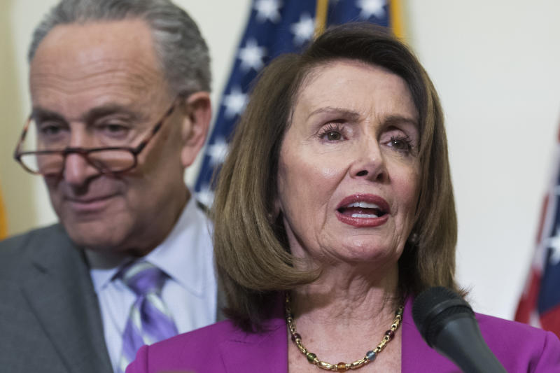 Sen. Chuck Schumer and Rep. Nancy Pelosi said the Justice Departmentshouldn't be sharing sensitive documents only with Republicans. (Tom Williams via Getty Images)
