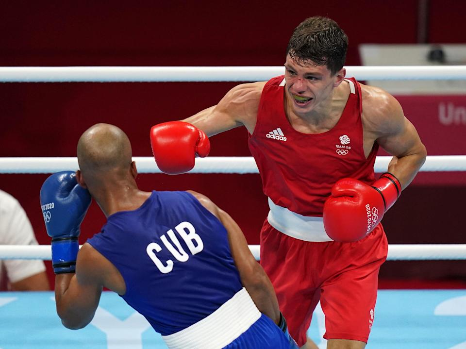 Great Britain's Pat McCormack (right) and Cuba's Roniel Iglesias in the Men's Welter Final Bout at Kokugikan Arena on the eleventh day of the Tokyo 2020 Olympic Games in Japan. Picture date: Tuesday August 3, 2021. (PA Wire)