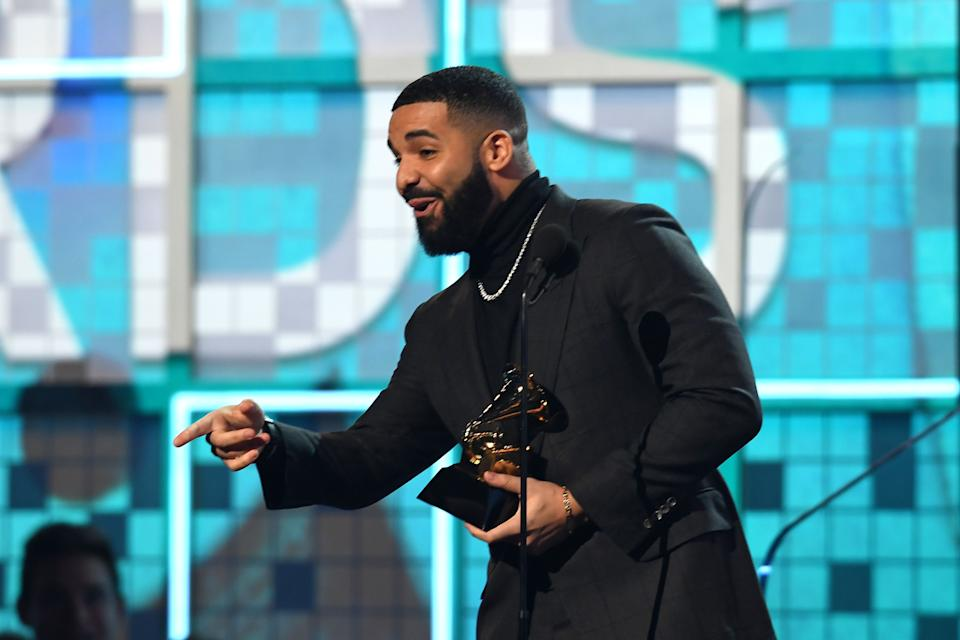 Canadian rapper Drake accepts the award for Best Rap Song for