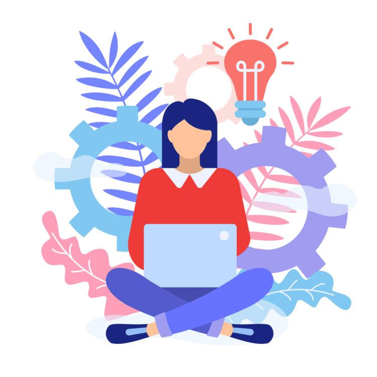 A woman is sitting on the floor with legs crossed and typing on laptop. Girl blogger work in social media. Freelancer concept. Flat style character vector illustration isolated on white background.