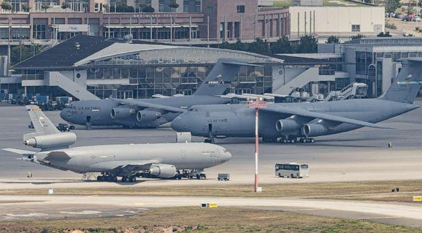 PHOTO: Military planes of the United States Air Force stand on the tarmac of Ramstein Air Base on July 20, 2020, in Ramstein-Miesenbach, Germany. (Alexander Scheuber/Getty Images)