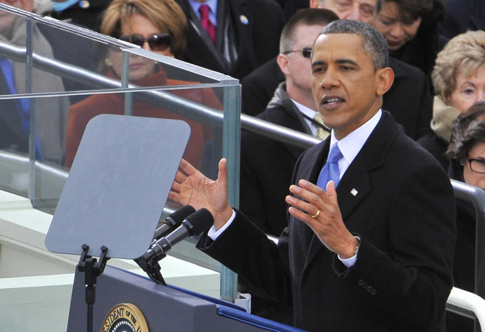 U.S. President Barack Obama gives his inaugural address at the U.S. Capitol in Washington, D.C., Monday, January 21, 2013. (Mark Gail/MCT via Getty Images)