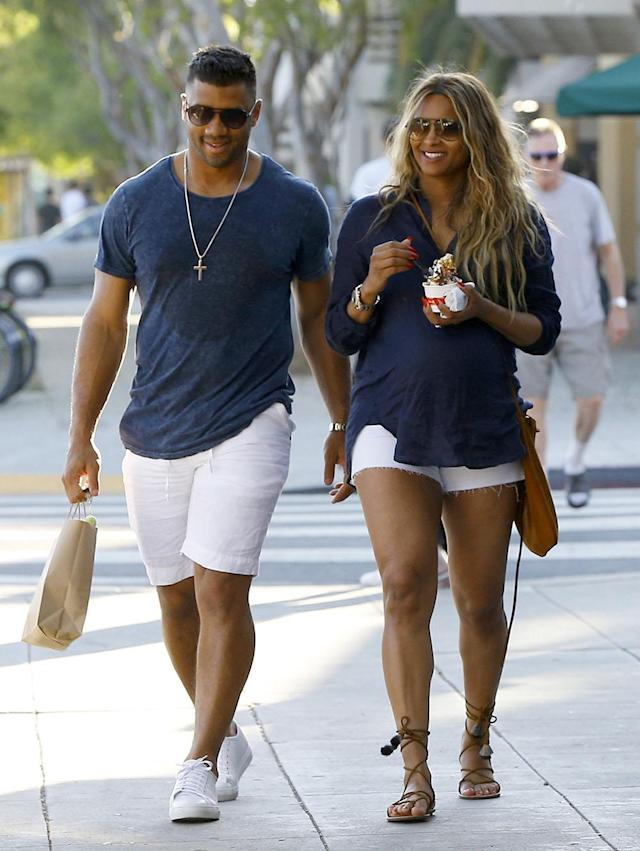 <p>Russell Wilson and Ciara stepped out in matching casual looks in West Hollywood on March 11. (Photo: FameFlynet) </p>