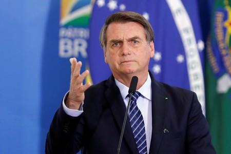 Brazil's President Bolsonaro speaks during a launching ceremony at the Planalto Palace in Brasilia