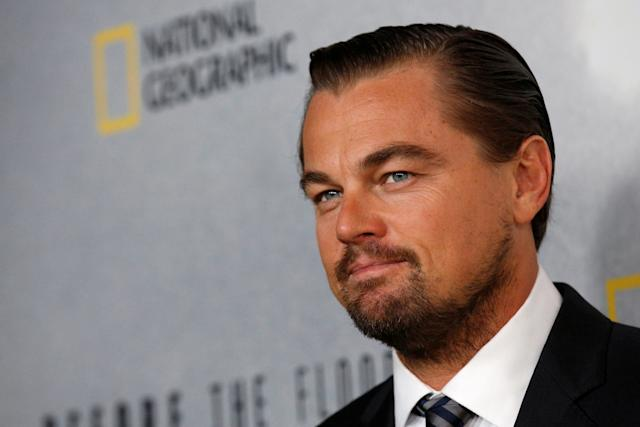 """U.S. actor and U.N. Messenger of Peace Leonardo DiCaprio posesata screening of his documentary """"Before the Flood"""" at the United Nations in New York City in October 2016. (Brendan McDermid / Reuters)"""