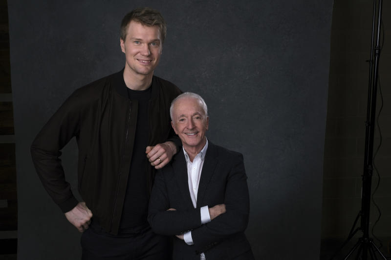 """This Dec. 3, 2019 photo shows Joonas Suotamo, left, and Anthony Daniels posing for a portrait to promote their film """"Star Wars: The Rise of Skywalker"""" in Pasadena, Calif. (AP Photo/Chris Pizzello)"""