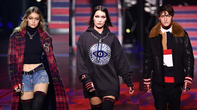 Gigi, Bella, and Anwar Hadid at the Tommy Hilfiger show in London during LFW. (Photo: Getty Images)