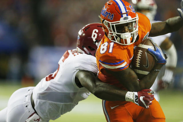 "WR <a class=""link rapid-noclick-resp"" href=""/ncaaf/players/255010/"" data-ylk=""slk:Antonio Callaway"">Antonio Callaway</a> is one of seven Gators entering the program. (AP Photo/Butch Dill, File)"
