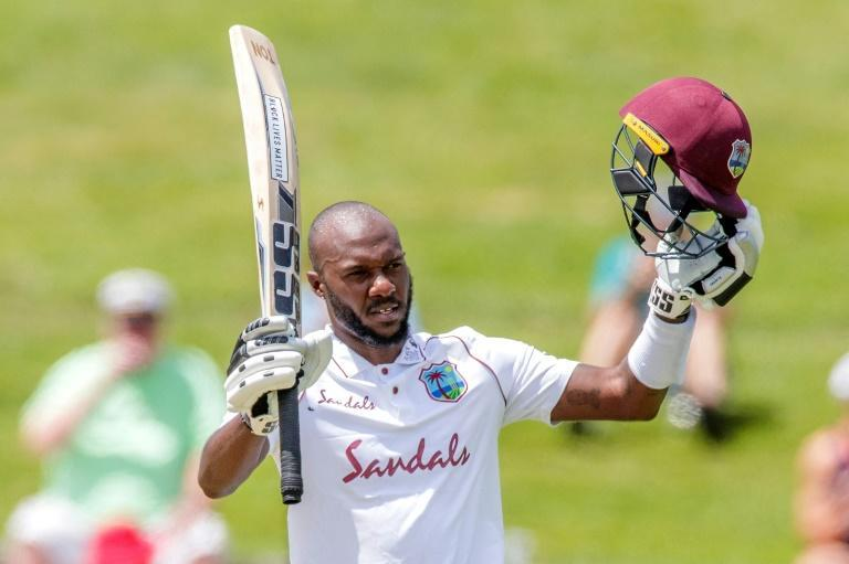 West Indies batsman Jermaine Blackwood celebrates reaching his century (100 runs) on the fourth day of the first Test cricket match between New Zealand and West Indies at Seddon Park in Hamilton on December 6, 2020.