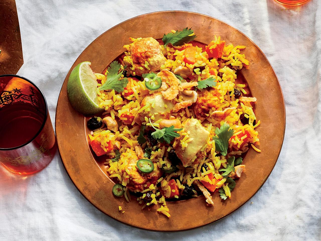 """<p>A standard in Indian cuisine, biryani gets plenty of flavor and fragrance from the spice mix, which typically includes turmeric, cardamom, ginger, and cumin. We use basmati rice here, which is a delicate white rice with an almost floral aroma. We particularly like Royal brand basmati, which has extraordinarily long grains.</p> <p><a href=""""https://www.myrecipes.com/recipe/chicken-biryani-1"""">Chicken Biryani Recipe</a></p>"""