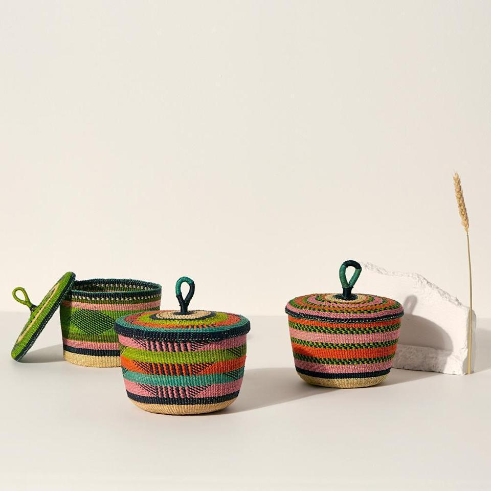 """For the couple in a perpetual state of tidying up—these colorful Banasco baskets will instantly become one of their favorite multiuse possessions. $46, Goodee World. <a href=""""https://www.goodeeworld.com/collections/handmade/products/banasco-orange-pink"""" rel=""""nofollow noopener"""" target=""""_blank"""" data-ylk=""""slk:Get it now!"""" class=""""link rapid-noclick-resp"""">Get it now!</a>"""