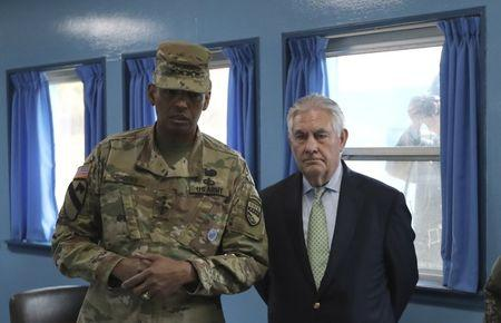 U.S. Secretary of State Rex Tillerson is briefed by U.S. Gen. Vincent K. Brooks, commander of the United Nations Command, Combined Forces Command and United States Forces Korea, in South Korea