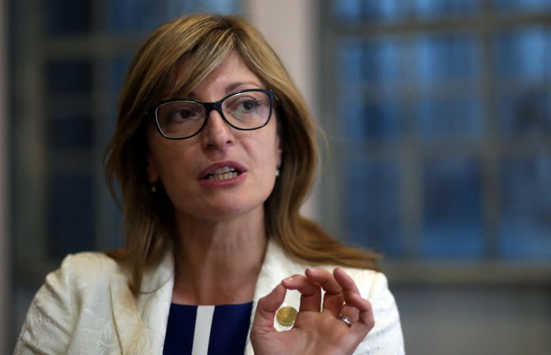FILE PHOTO: Zaharieva, Bulgaria's Foreign Minister and President of the EU Council of Ministers, speaks during an interview with Reuters at the G20 Meeting of Foreign Affairs Ministers in Buenos Aires