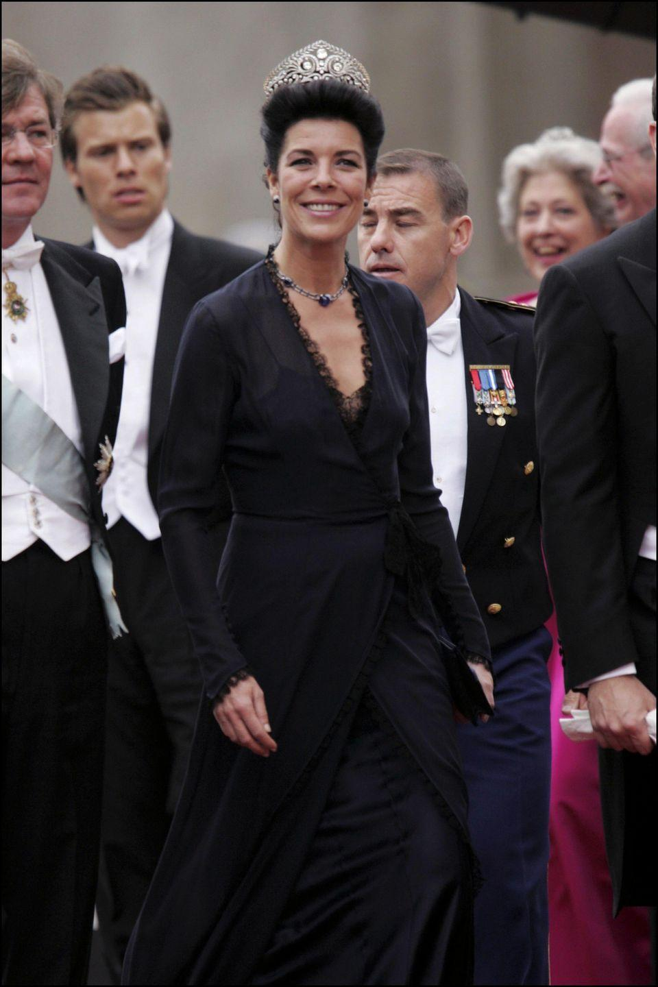 <p>To attend the 2004 wedding of Denmark's Prince Frederik and Mary Donaldson, Princess Caroline wore the Brunswick Tiara, a scrolling diadem that belongs to her third husband, Prince Ernst August of Hanover (he inherited the piece from his grandmother Princess Victoria Louise of Prussia)</p>
