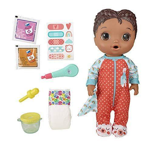 """<p><strong>Baby Alive</strong></p><p>amazon.com</p><p><strong>$19.97</strong></p><p><a href=""""https://www.amazon.com/dp/B07VXBZCSG?tag=syn-yahoo-20&ascsubtag=%5Bartid%7C2089.g.32781476%5Bsrc%7Cyahoo-us"""" rel=""""nofollow noopener"""" target=""""_blank"""" data-ylk=""""slk:Shop Now"""" class=""""link rapid-noclick-resp"""">Shop Now</a></p><p>Let's be honest — your little one is obsessed with baby dolls, and their skin tone is not really a deciding factor. When you diversify your child's growing baby doll collection, you help them build positive associations with differences. This sweet-faced babe will keep your tot on their toes. </p><p>This doll seems especially timely, as it is designed to be fed their """"medicine"""" and has bandages for their booboos. Plus your kiddo will get a kick out of feeding their Baby Alive their bottle and changing her diaper after she """"pees."""" It's like having an <em>actual</em> little baby. </p>"""