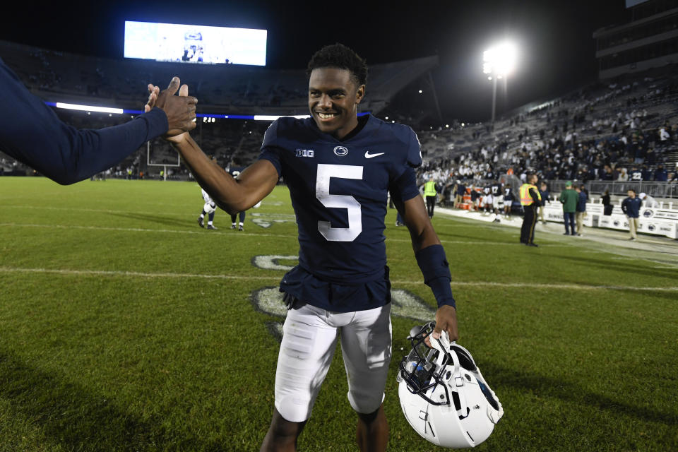 Penn State WR Jahan Dotson has been one of the best playmakers in America in 2021. (AP Photo/Barry Reeger)