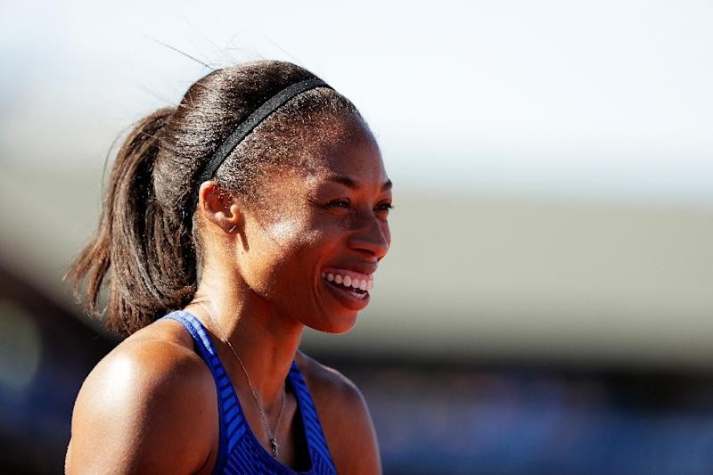 Allyson Felix celebrates a victory in the 400m at the 2016 US Olympic athletics trials in Eugene, Oregon