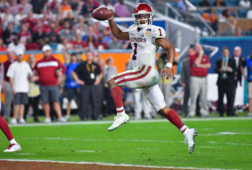 Oklahoma quarterback Kyler Murray declared for the NFL draft on Monday. (Getty Images)