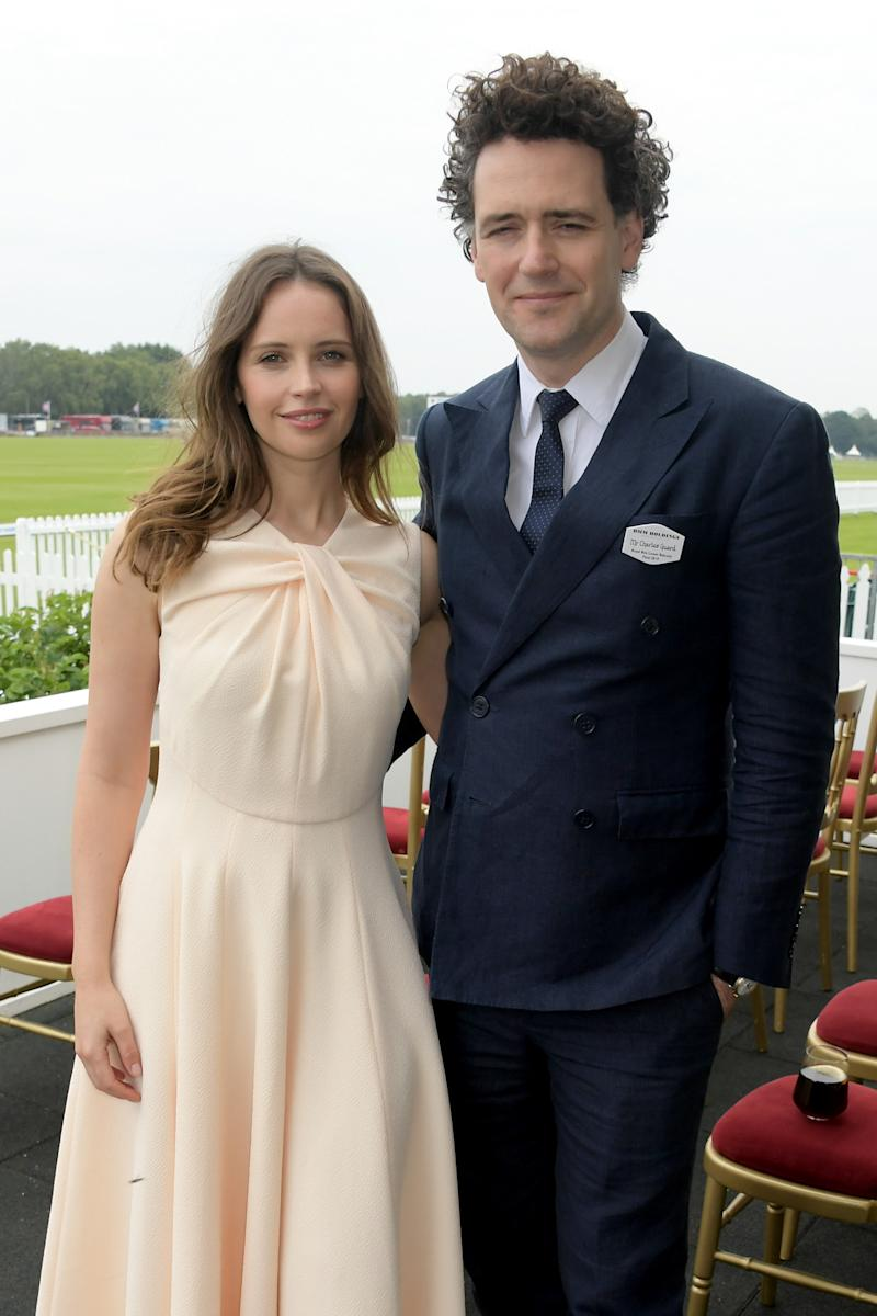 WINDSOR, ENGLAND - JUNE 23: Felicity Jones and Charles Guard attend the OUTSOURCING Inc. Royal Windsor Cup Final on June 23, 2019 in Windsor, England. (Photo by David M. Benett/Dave Benett/Getty Images for OUT-SOURCING Inc)