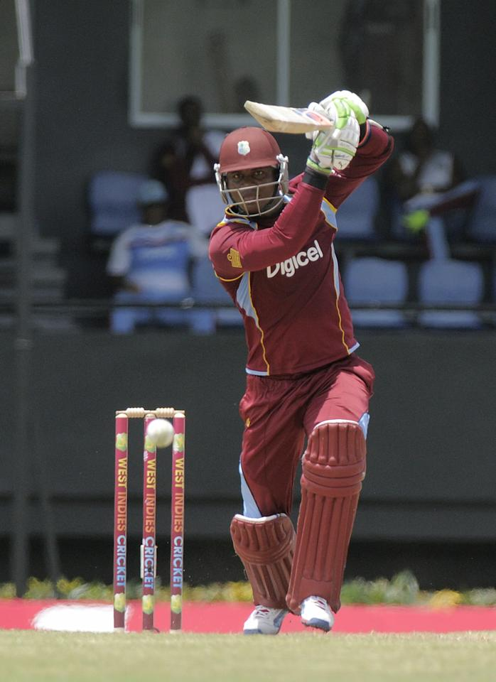 West Indies batsman Marlon Samuels makes 45 during the 5th and final ODI West Indies v Pakistan on July 24, 2013 at Beausejour Cricket Ground, in Gros Islet, St. Lucia.  AFP PHOTO/RANDY BROOKS        (Photo credit should read RANDY BROOKS/AFP/Getty Images)