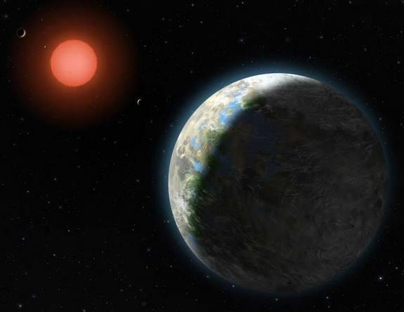 This artist's conception shows the inner four planets of the Gliese 581 system and their host star. The large planet in the foreground is Gliese 581g, which is in the middle of the star's habitable zone and is only two to three times as massive