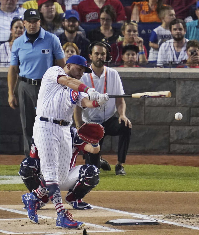 Chicago Cubs Kyle Schwarber hits in the MLB Home Run Derby, at Nationals Park, Monday, July 16, 2018 in Washington. The 89th MLB baseball All-Star Game will be played Tuesday. (AP Photo/Carolyn Kaster)