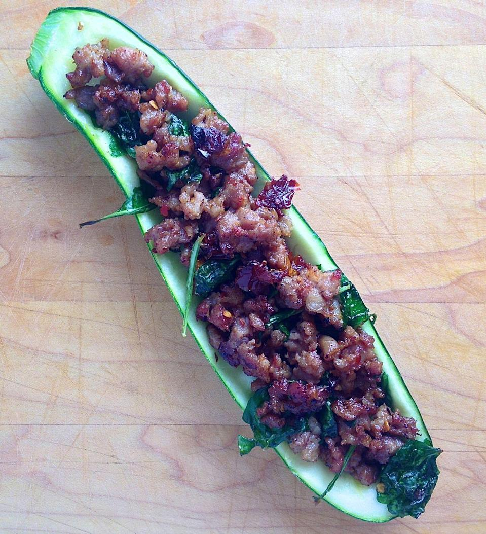 """<p>You won't even realize the bread is missing.</p><p>Get the recipe from <a href=""""/cooking/a43100/stuffed-zucchini-recipes/"""" data-ylk=""""slk:Delish"""" class=""""link rapid-noclick-resp"""">Delish</a>.</p>"""