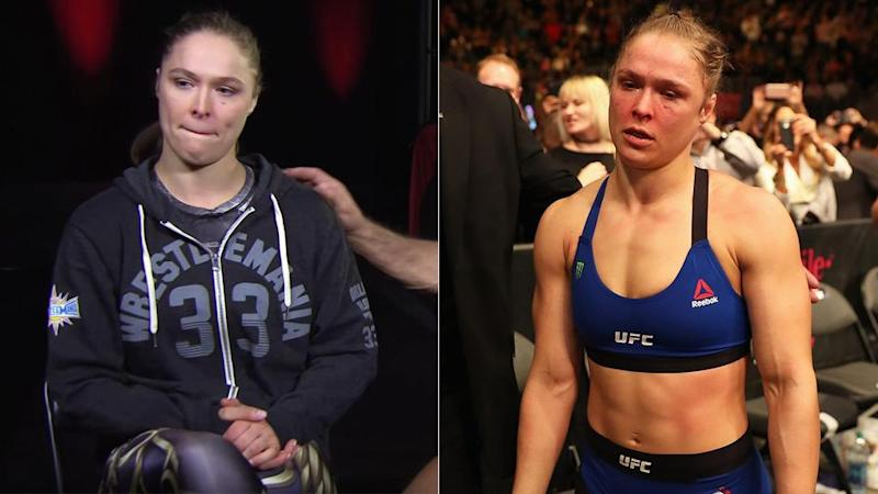Rousey breaks down (left) discussing her brutal exit from the UFC in 2016. Pic: Getty