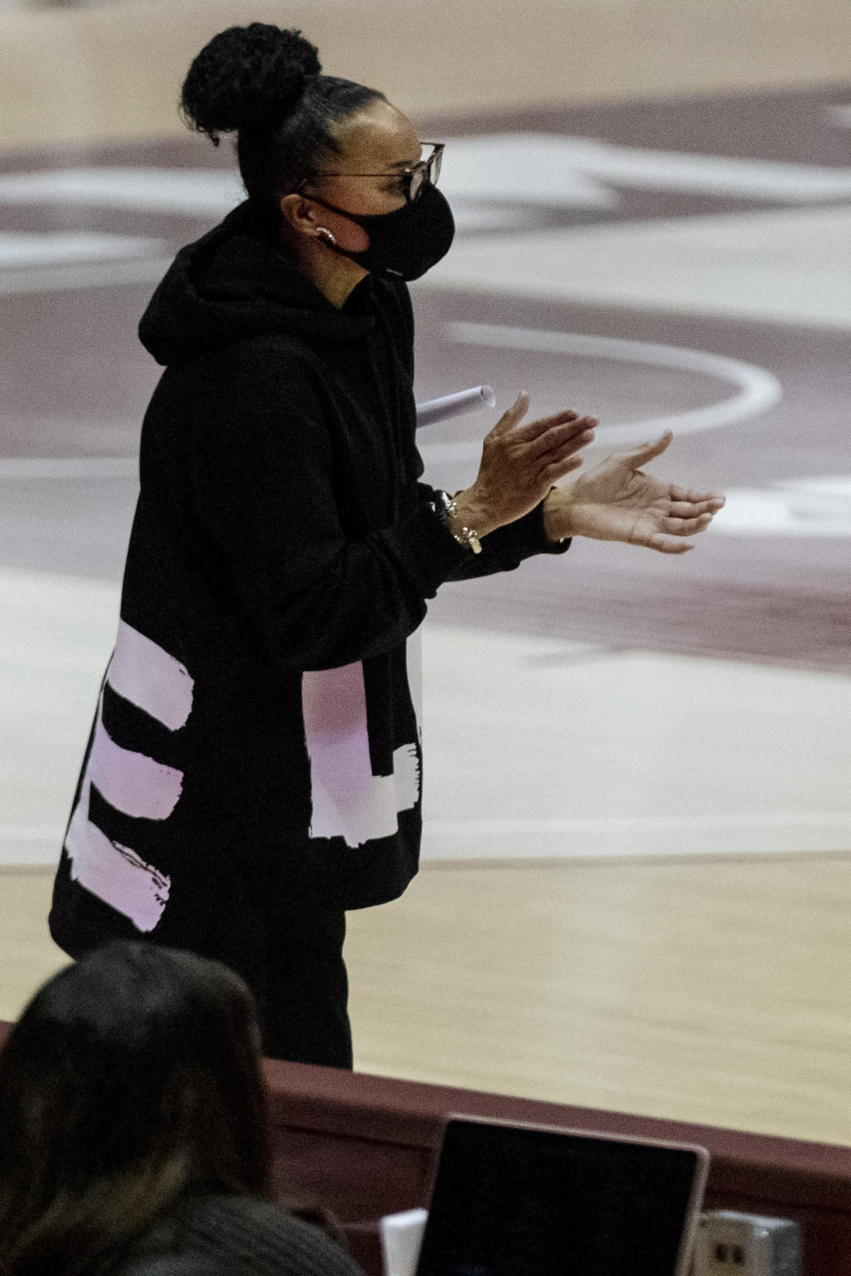 South Carolina head coach Dawn Staley calls to her team during the first half of an NCAA college basketball game against Alabama, Monday, Jan. 4, 2021, in Tuscaloosa, Ala. (AP Photo/Vasha Hunt)