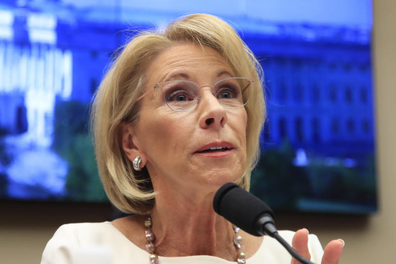 """FILE - In this April 10, 2019, file photo, Education Secretary Betsy DeVos testifies on Capitol Hill in Washington. An internal Education Department watchdog says DeVos has sometimes used personal email accounts for government business and did not always properly save the messages. The agency's Office of Inspector General released a report Monday, May 20, finding """"limited"""" instances in which DeVos sent work emails from four personal accounts.  (AP Photo/Manuel Balce Ceneta, file)"""