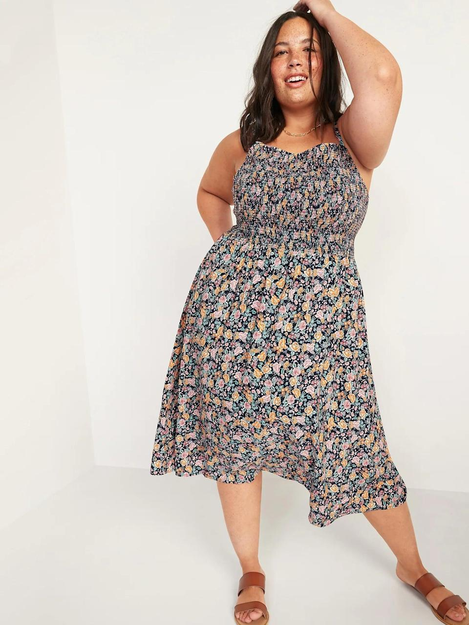 <p>We love the pattern and length of this <span>Old Navy Smocked Fit &amp; Flare Cami Midi Dress</span> ($43).</p>