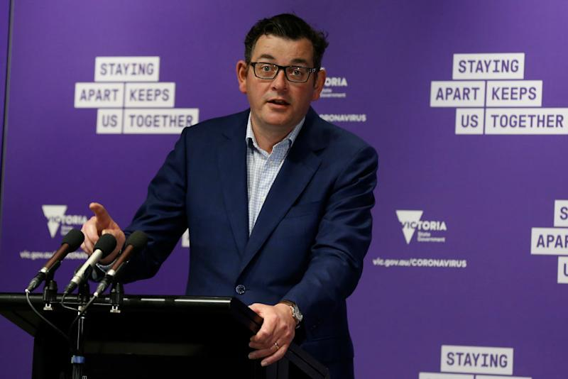 Victorian Premier Daniel Andrews speaks at the daily briefing on Sunday. Source: Getty