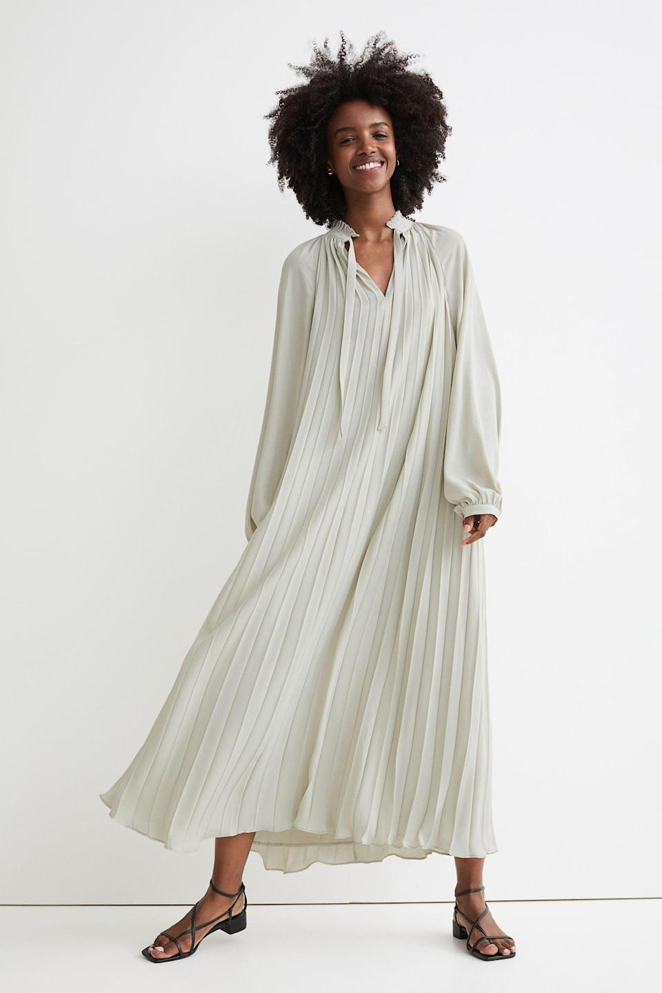 <p>The breezy silhouette of this <span>H&amp;M Pleated Maxi Dress</span> ($60) makes it a must have in our fall closet, especially as we transition into the cooler temperatures. It fits loosely, yet it still looks flattering. Style it with a trench coat and some chic strappy heels for a chic museum date.</p>