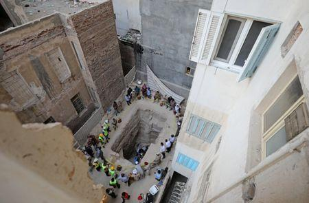 General view of the residential area where a coffin containing three mummies was discovered in Alexandria, Egypt July 19, 2018. REUTERS/Mohamed Abd El Ghany
