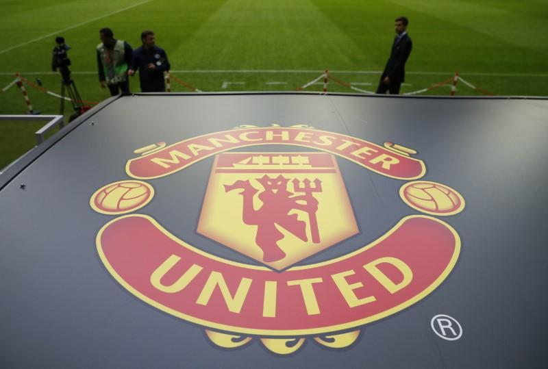 FILE PHOTO: General view of the Manchester United logo ahead of the Europa League final