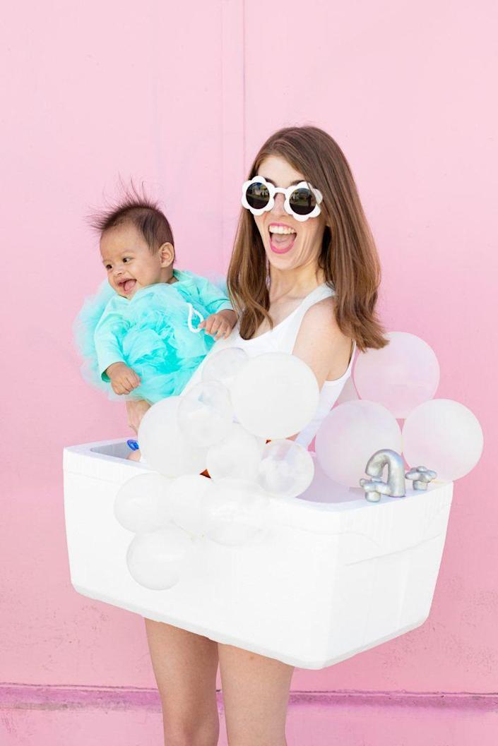 """<p>You and your little girl will be looking so fresh and so clean in this adorable bubble bath costume. The fluffy little loofah is actually made from layers of tulle.</p><p><strong>See more at <a href=""""https://studiodiy.com/diy-bubble-bath-family-costume/"""" rel=""""nofollow noopener"""" target=""""_blank"""" data-ylk=""""slk:Studio DIY!"""" class=""""link rapid-noclick-resp"""">Studio DIY!</a>.</strong></p><p><a class=""""link rapid-noclick-resp"""" href=""""https://go.redirectingat.com?id=74968X1596630&url=https%3A%2F%2Fwww.walmart.com%2Fip%2FCraft-and-Party-54-X-40-yards-120-ft-fabric-tulle-bolt-for-wedding-and-decoration%2F512001176&sref=https%3A%2F%2Fwww.thepioneerwoman.com%2Fholidays-celebrations%2Fg37079496%2Fmother-daughter-halloween-costumes%2F"""" rel=""""nofollow noopener"""" target=""""_blank"""" data-ylk=""""slk:SHOP TULLE"""">SHOP TULLE</a></p>"""