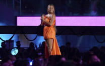 """Chrissy Teigen speaks at """"Vax Live: The Concert to Reunite the World"""" on Sunday, May 2, 2021, at SoFi Stadium in Inglewood, Calif. (Photo by Jordan Strauss/Invision/AP)"""