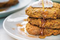 """These wheat-free pancakes are sweetened with nothing but homemade, sugar-free applesauce—but a drizzle of maple syrup to serve certainly isn't a bad idea. <a href=""""https://www.epicurious.com/recipes/food/views/sweet-potato-and-sage-pancakes?mbid=synd_yahoo_rss"""" rel=""""nofollow noopener"""" target=""""_blank"""" data-ylk=""""slk:See recipe."""" class=""""link rapid-noclick-resp"""">See recipe.</a>"""