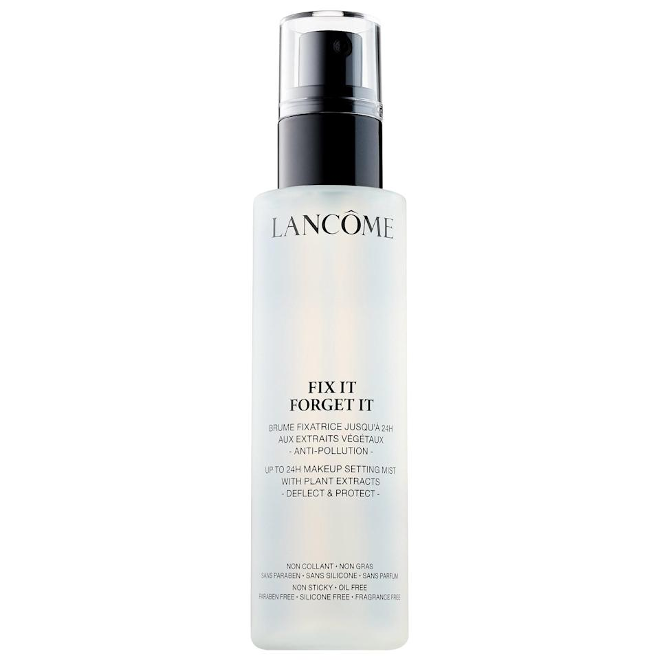 "<p>This top-rated <a href=""https://www.popsugar.com/buy/Lanc%C3%B4me-Fix-Forget-Setting-Spray-587075?p_name=Lanc%C3%B4me%20Fix%20It%20Forget%20It%20Setting%20Spray&retailer=sephora.com&pid=587075&price=17&evar1=bella%3Aus&evar9=47597630&evar98=https%3A%2F%2Fwww.popsugar.com%2Ffashion%2Fphoto-gallery%2F47597630%2Fimage%2F47597646%2FLanc%C3%B4me-Fix-It-Forget-It-Setting-Spray&list1=makeup%2Csephora%2Cbeauty%20shopping&prop13=api&pdata=1"" class=""link rapid-noclick-resp"" rel=""nofollow noopener"" target=""_blank"" data-ylk=""slk:Lancôme Fix It Forget It Setting Spray"">Lancôme Fix It Forget It Setting Spray</a> ($17-$34) can be mixed with liquid highlighter to add a luminous glow while also making your makeup last longer. The spritz also protects against pollution and free radicals (with witch hazel and kiwi extract) and has hyaluronic acid for an extra dose of moisture.</p>"