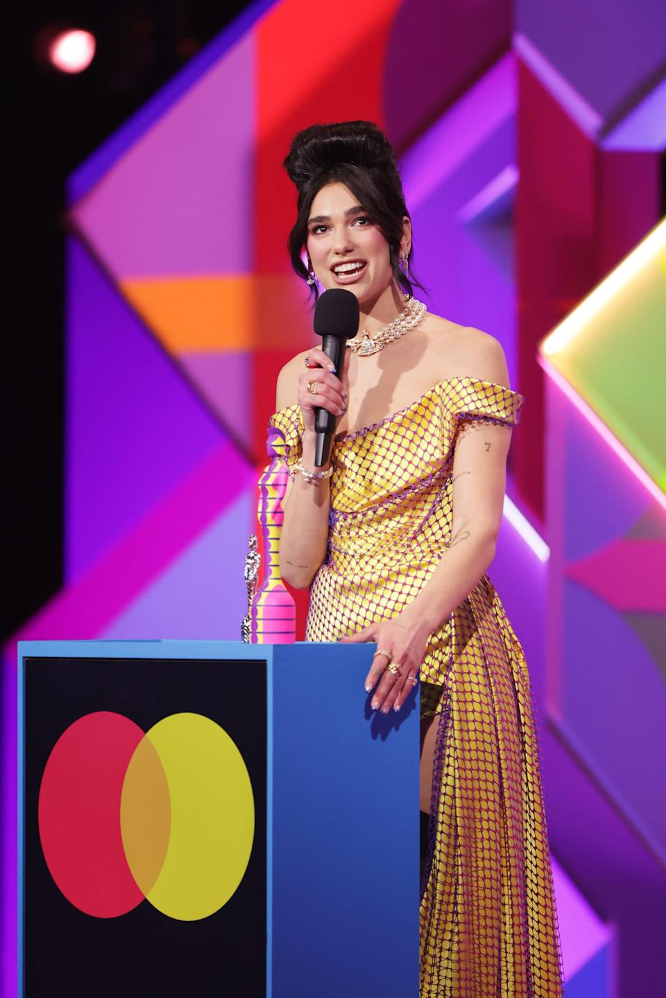 LONDON, ENGLAND - MAY 11:    Dua Lipa accepts the award for Best Female Solo Artist at The BRIT Awards 2021 at The O2 Arena on May 11, 2021 in London, England.  (Photo by David M. Benett/Dave Benett/Getty Images)